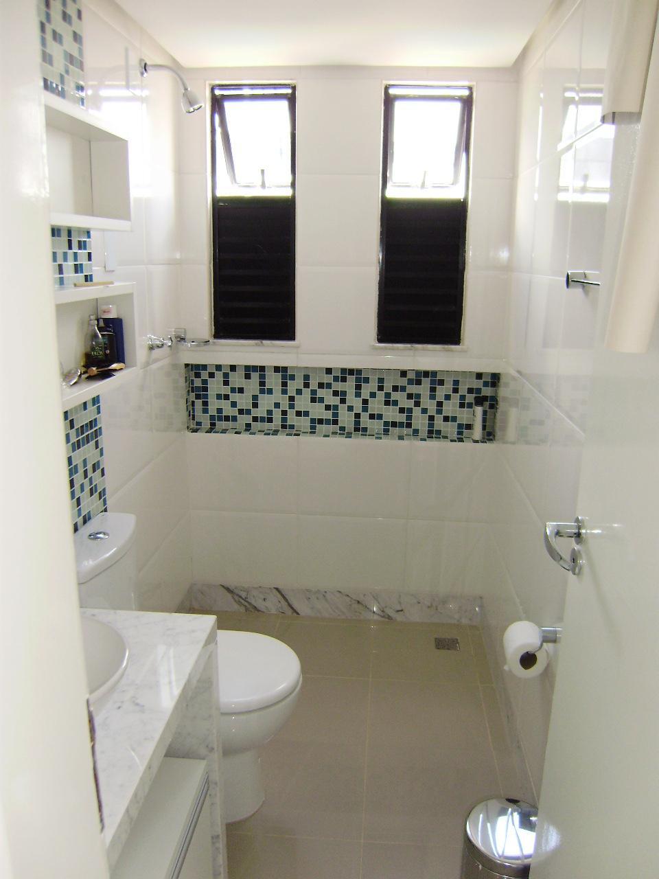 Nichos no Banheiro  Comprando Meu Apê -> Banheiro Com Pastilha Na Parede Do Vaso