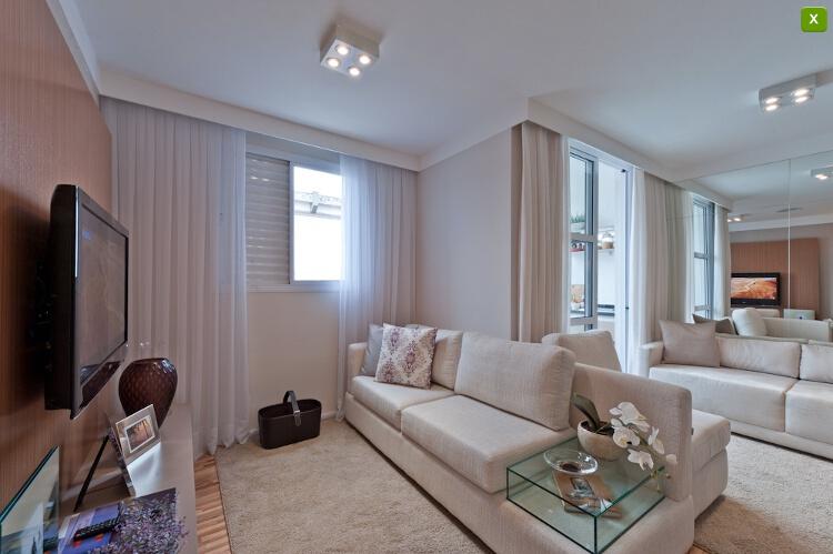 Sala De Jantar E Tv Apartamento ~  uma sala de tv integrada com a sala de jantar e a sala de estar