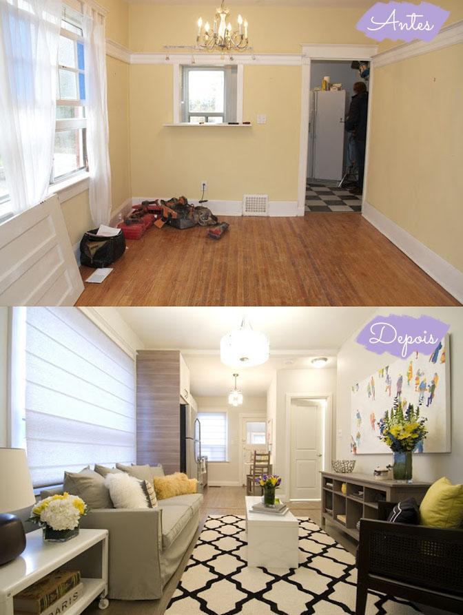 Antes e Depois sala, quarto e cozinha Comprando Meu Apê ~ Quarto Pequeno Reforma