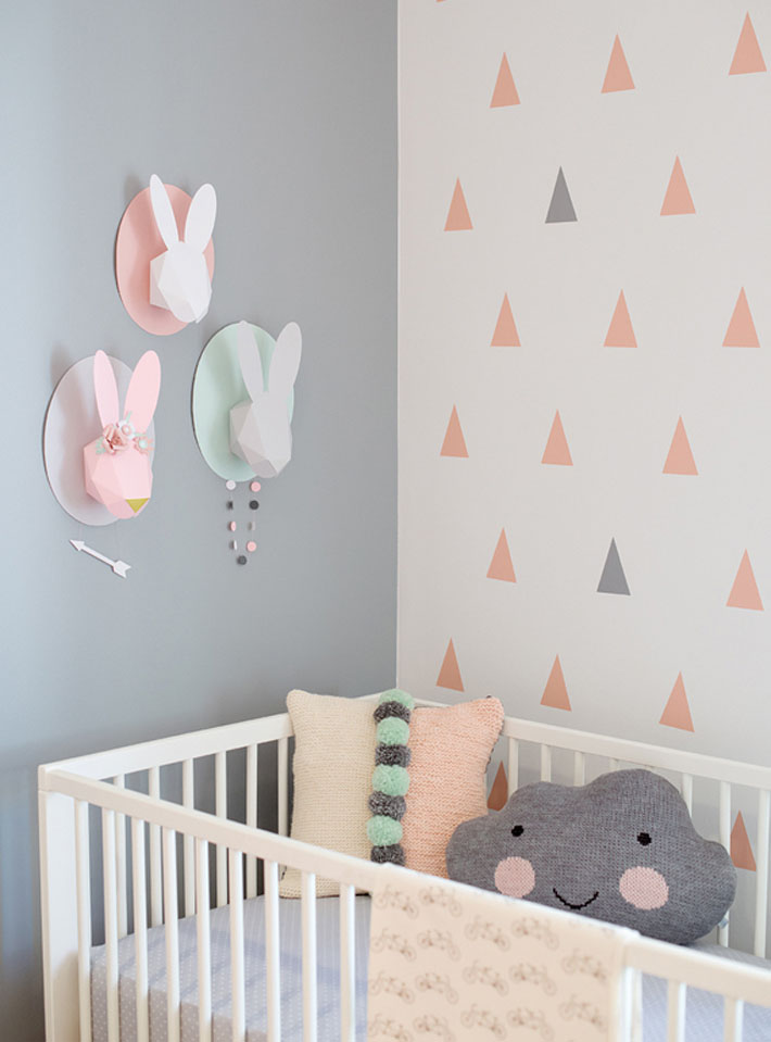Quarto de bebê cinza, rosa e verde decoração de coelhos  ~ Quarto Rosa E Verde Bebe