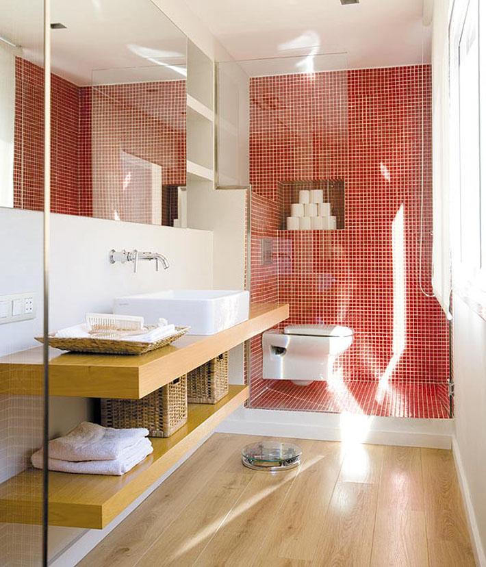 Decoração vermelho, cinza e branco  Comprando Meu Apê -> Decoracao De Banheiro Vermelho E Branco