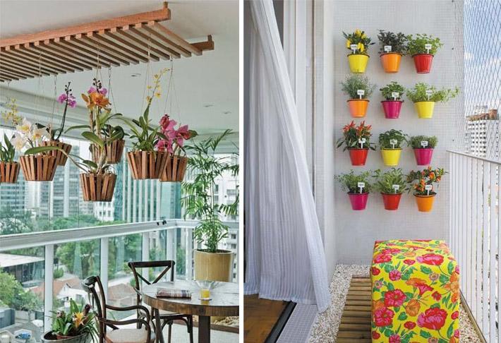 grades madeira jardim: teto, na parede ou na própria grade da varanda são ótimas ideias