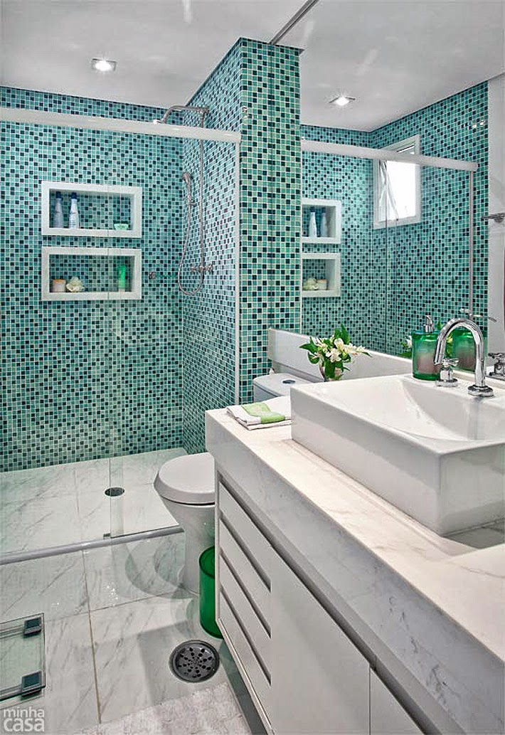 Inspiração apartamento pequeno (58 m²)  Comprando Meu Apê -> Banheiro De Apartamento Decorado Com Pastilhas