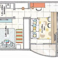 Inspiração: apartamento pequeno (58 m²)