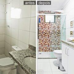 Antes e Depois: banheiro revestido com adesivo
