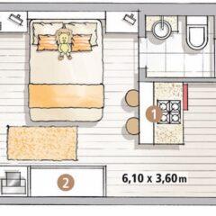 Inspiração: quitinete de 22 m²