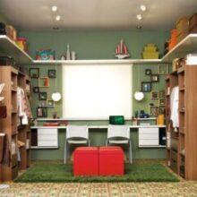 Closet com escritório (home office) juntos