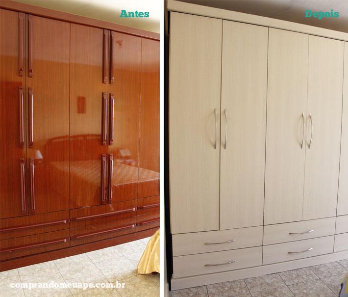 Aparador Wengue Y Blanco ~ Antes e Depois reforma de móveis com laminado adesivo Comprando Meu Ap u00ea