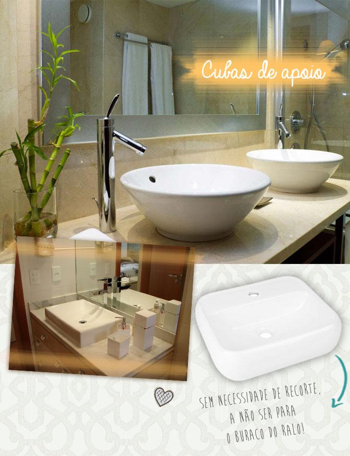 Tipos de cubas para o banheiro  Comprando Meu Apê -> Decoracao De Banheiros Com Duas Cubas
