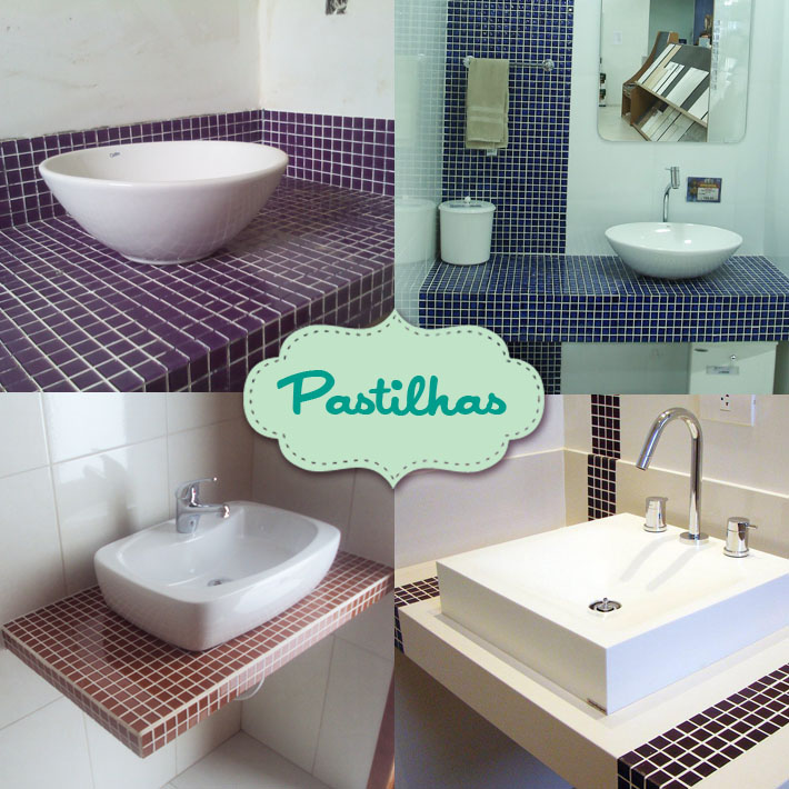 Tipos de bancadas para banheiro  Comprando Meu Apê -> Bancada De Banheiro Com Pastilha De Vidro