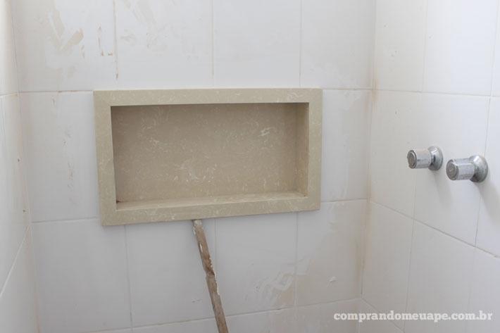 Meu apê pedras e bancadas de quartzo e mármore  Comprando Meu Apê  Compran -> Nicho Box Banheiro Medidas