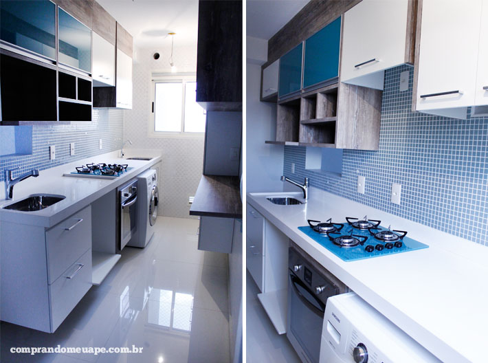 cozinha planejada  Comprando Meu Apê # Armario De Cozinha Planejado Azul