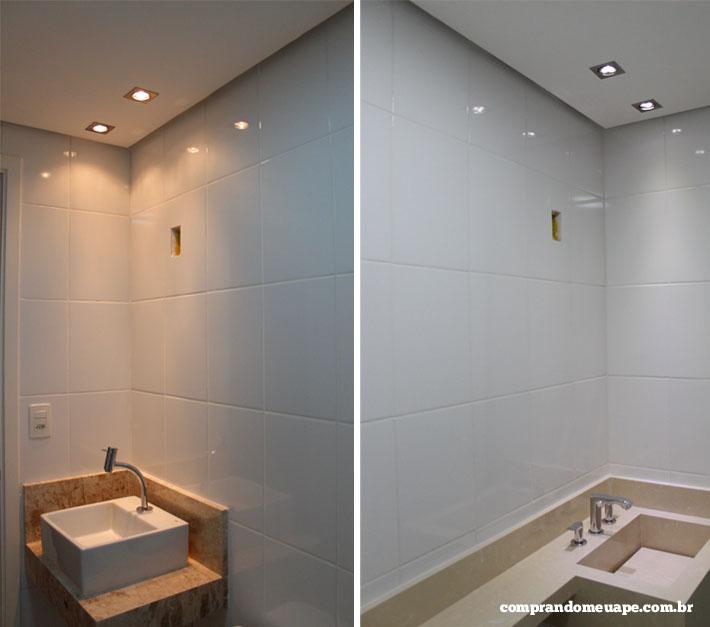 O gesso e a iluminação do meu apê (Spots Super LED e Dicróica)  Comprando Me -> Drywall Banheiro Pequeno