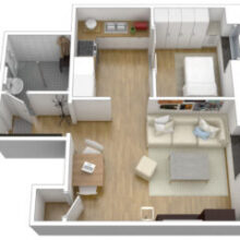 Apartamento pequeno: cinza + colorido