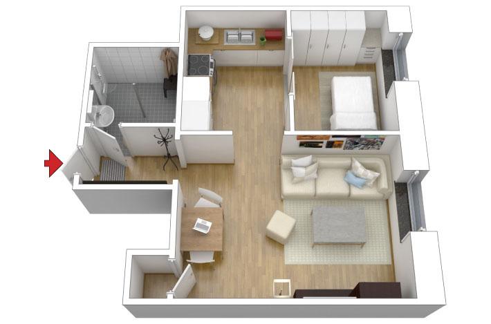 Apartamento pequeno cinza colorido comprando meu ap for Modelos de departamentos pequenos para construir
