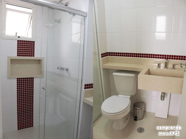 Meu banheiro (suíte) com pastilhas adesivas  Comprando Meu Apê  Comprando M -> Banheiro Decorado Marron