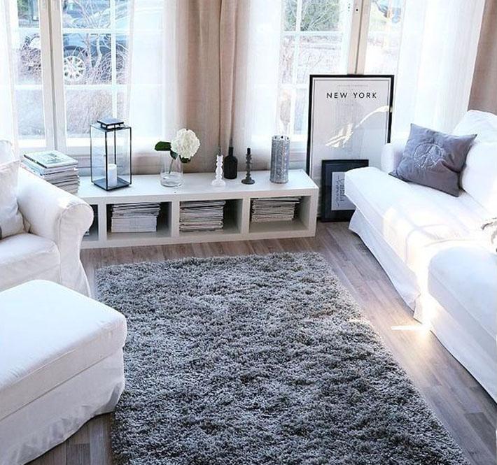 Sala Pequena Com Tapete Marrom ~ Como combinar tapetes e cortinas na sala?  Comprando Meu Apê