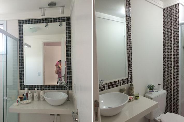 Apartamento da leitora  Cintia Caroci  Comprando Meu Apê -> Banheiros Com Pastilhas Em Volta Do Espelho