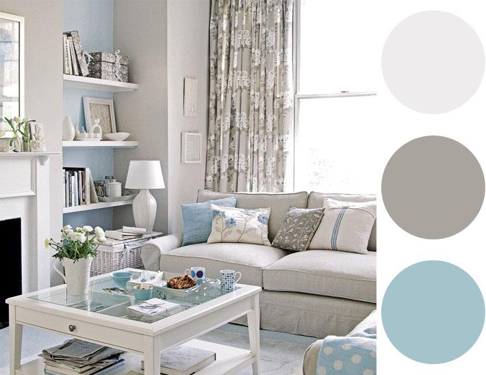 sala com clima bem suave, a combinação do azul claro com o cinza e