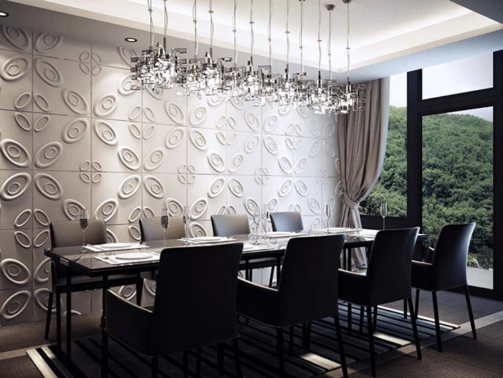Inspira o paredes e pain is 3d board comprando meu ap for Wallpaper feature wall ideas dining room