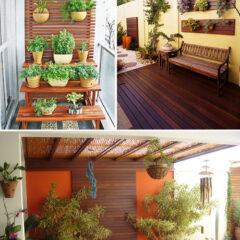 Decoração com deck de madeira em varandas