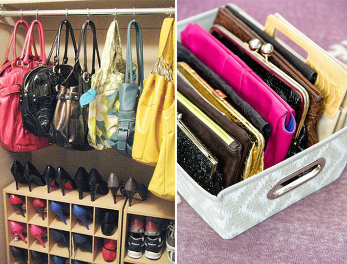 Organização de bolsas e sapatos