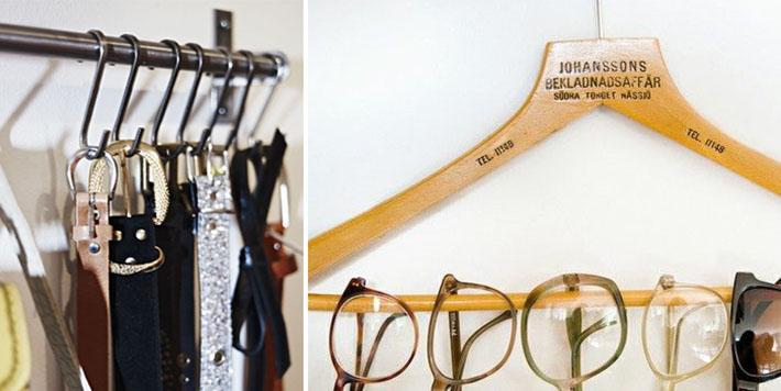 Organizando acessórios, óculos...