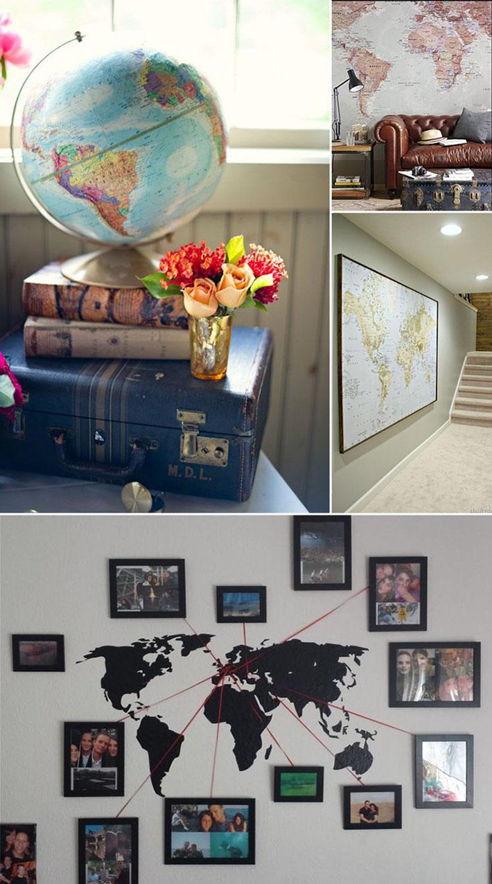 Decoração com mapa mundi e viagens