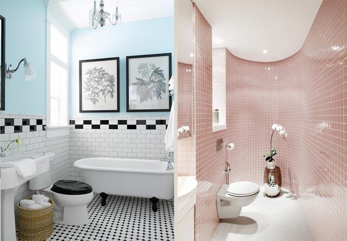Decoração preto e branco e azul à esquerda e rosa claro à direita, ambos em tons cand color!