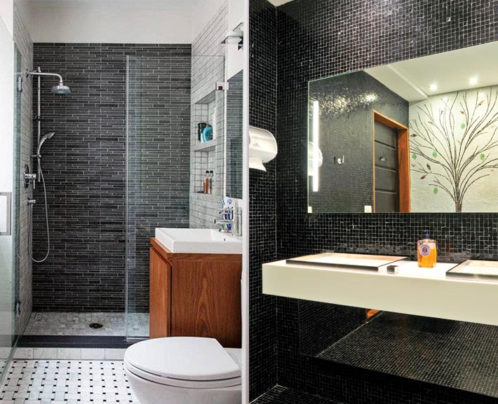 Banheiros decorados tendência preto