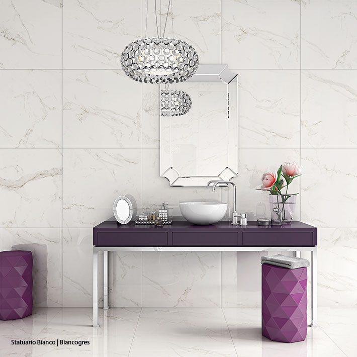 Porcelanato que imita Marmore banheiro