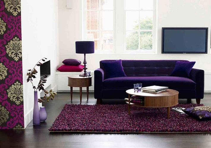 Sala De Tv Com Sofa Roxo ~ Sofá roxo  Decoração de sala  Comprando Meu Apê