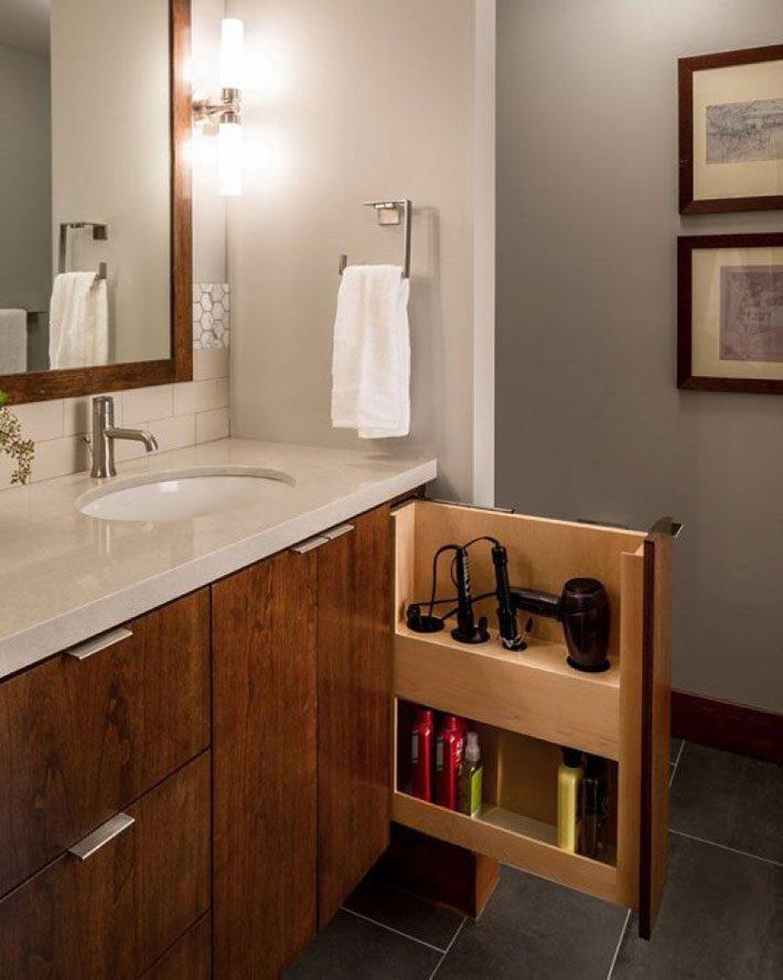 Organização de armários de banheiro